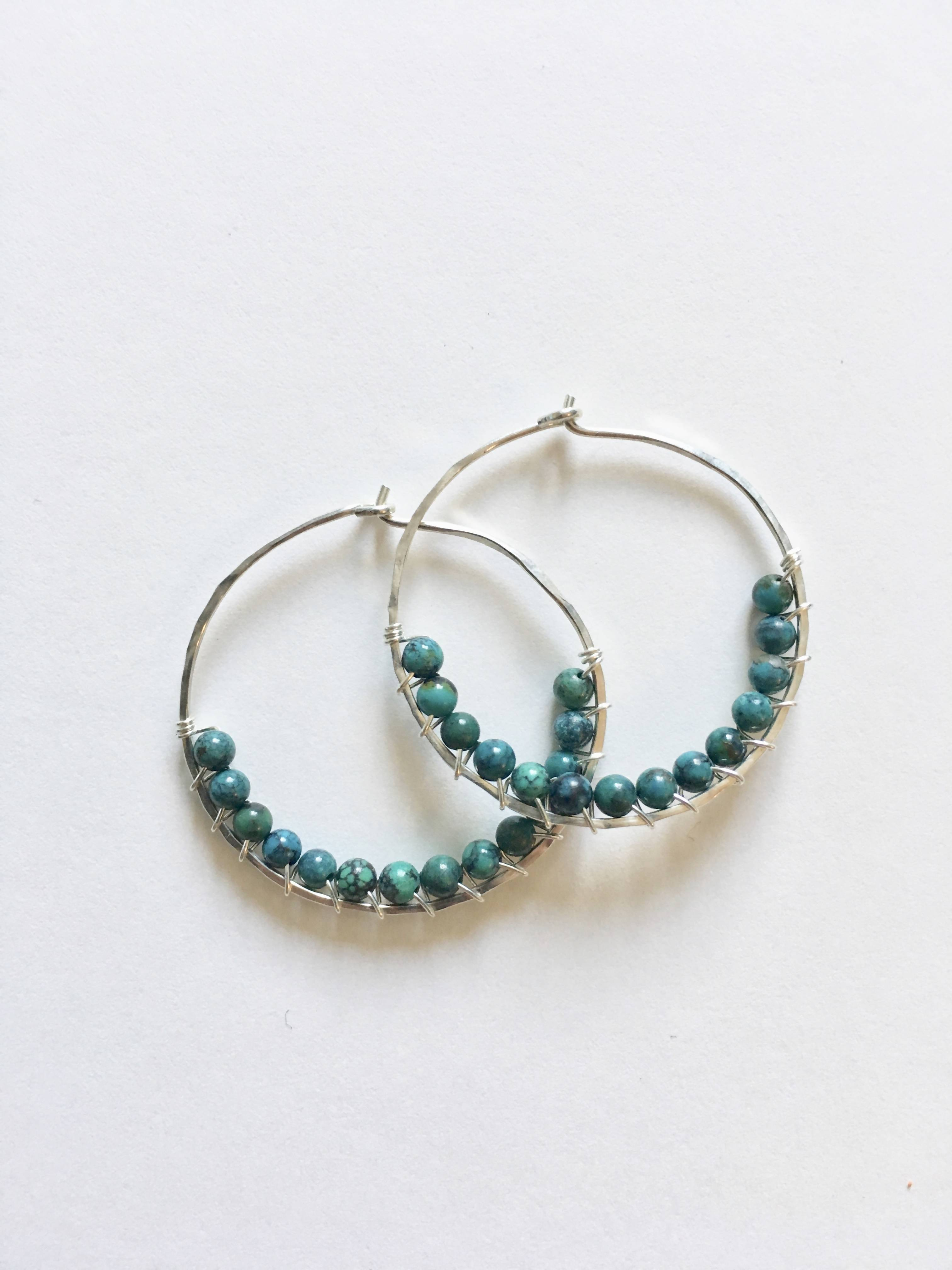 Turquoise  Wire Wrapped Hoop Earrings - Small