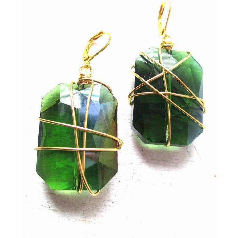 MADELENE-Green Glass Wire Wrapped Earrings
