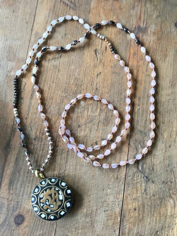 Om Pendant Beaded Crystal and Gemstone Necklace