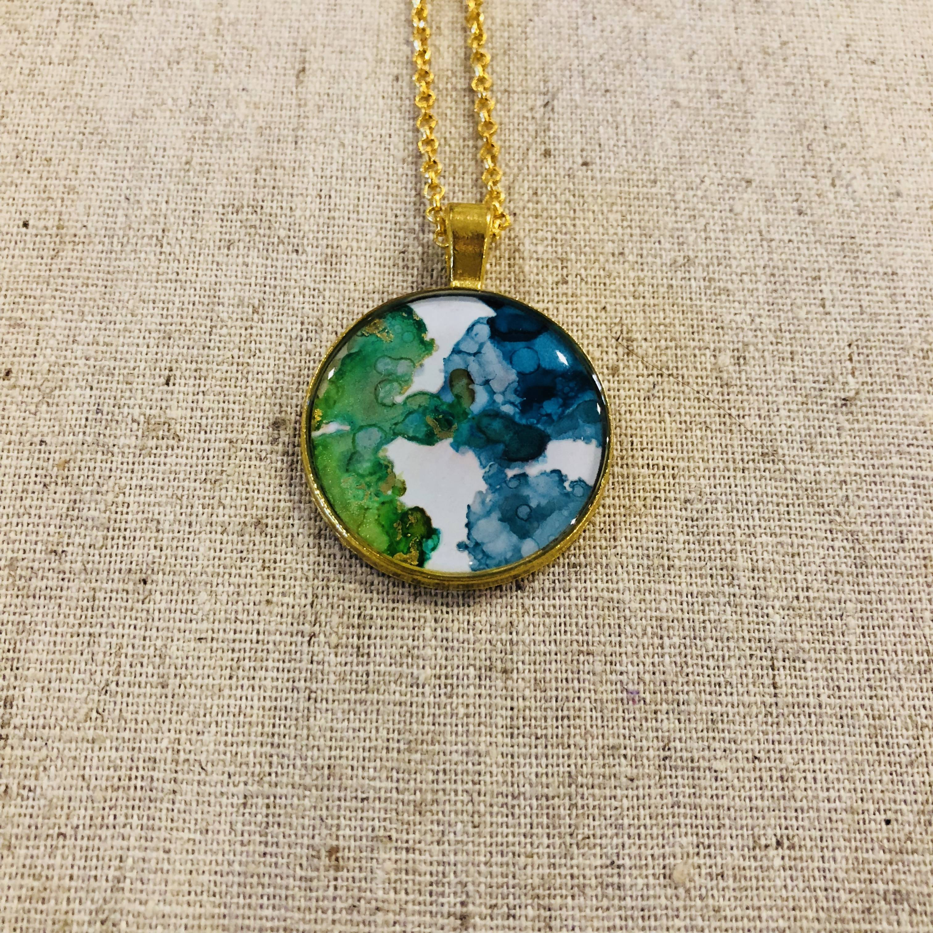 Beautiful green, blue and white watercolor pendant necklace