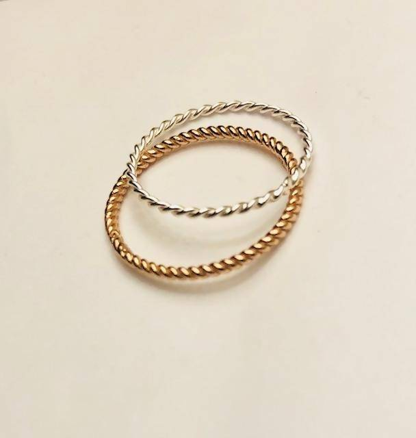 twisted braid ultra thin stacking ring