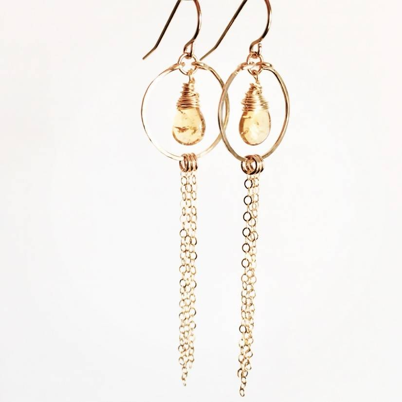 Citrine Teardrop Hammered Wire Earrings