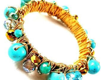 SEENA- Wire Wrapped Gold Over Brass Bangle Howlite Beads