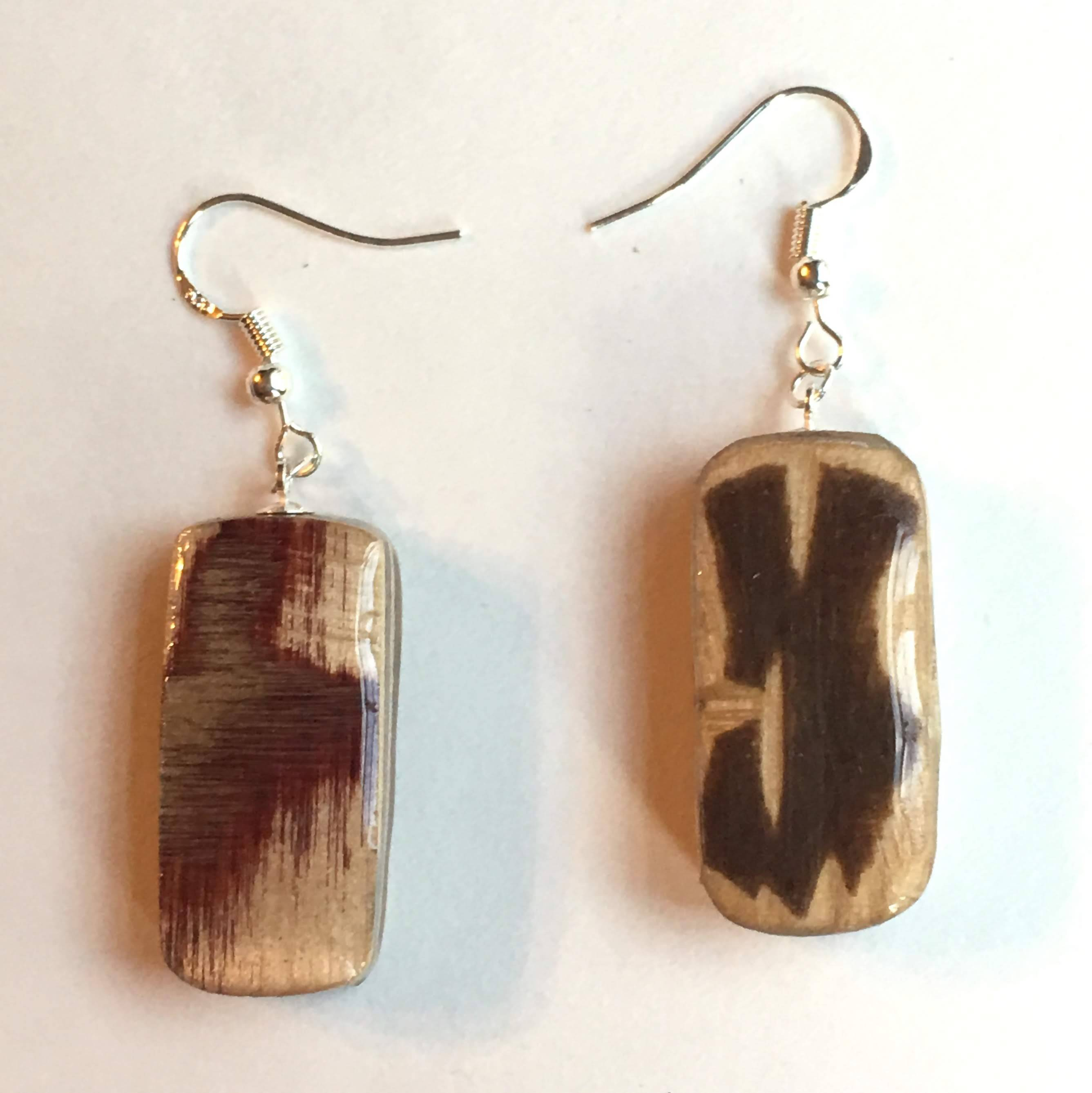 small plywood rectangle earrings