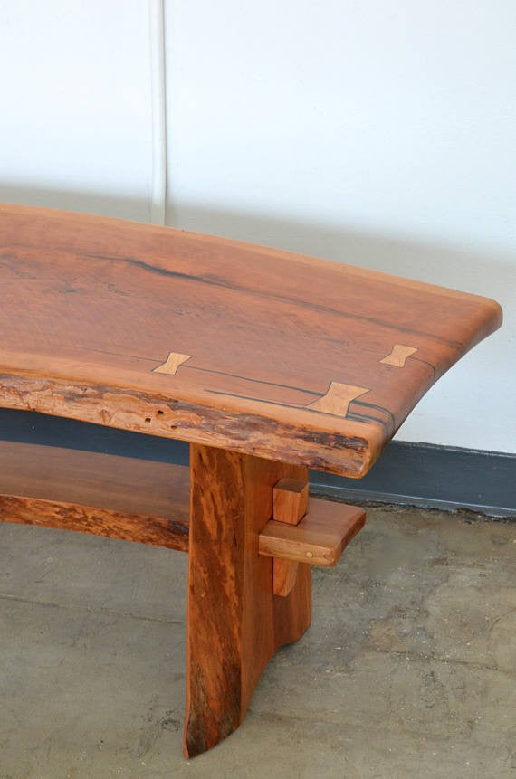 Live Edge Cherry Coffee Tablebench Handcrafted La