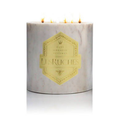 54 oz. White Marble Cassis (Black Currant) LesRuches Organic Beeswax Luxury Candle