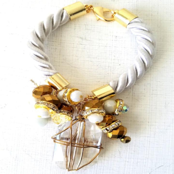 VIVIAN- White Corded and Glass Stone Bracelet
