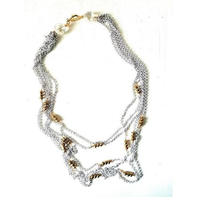 LACEY- Multi- White Chain and Gold Stone Necklace