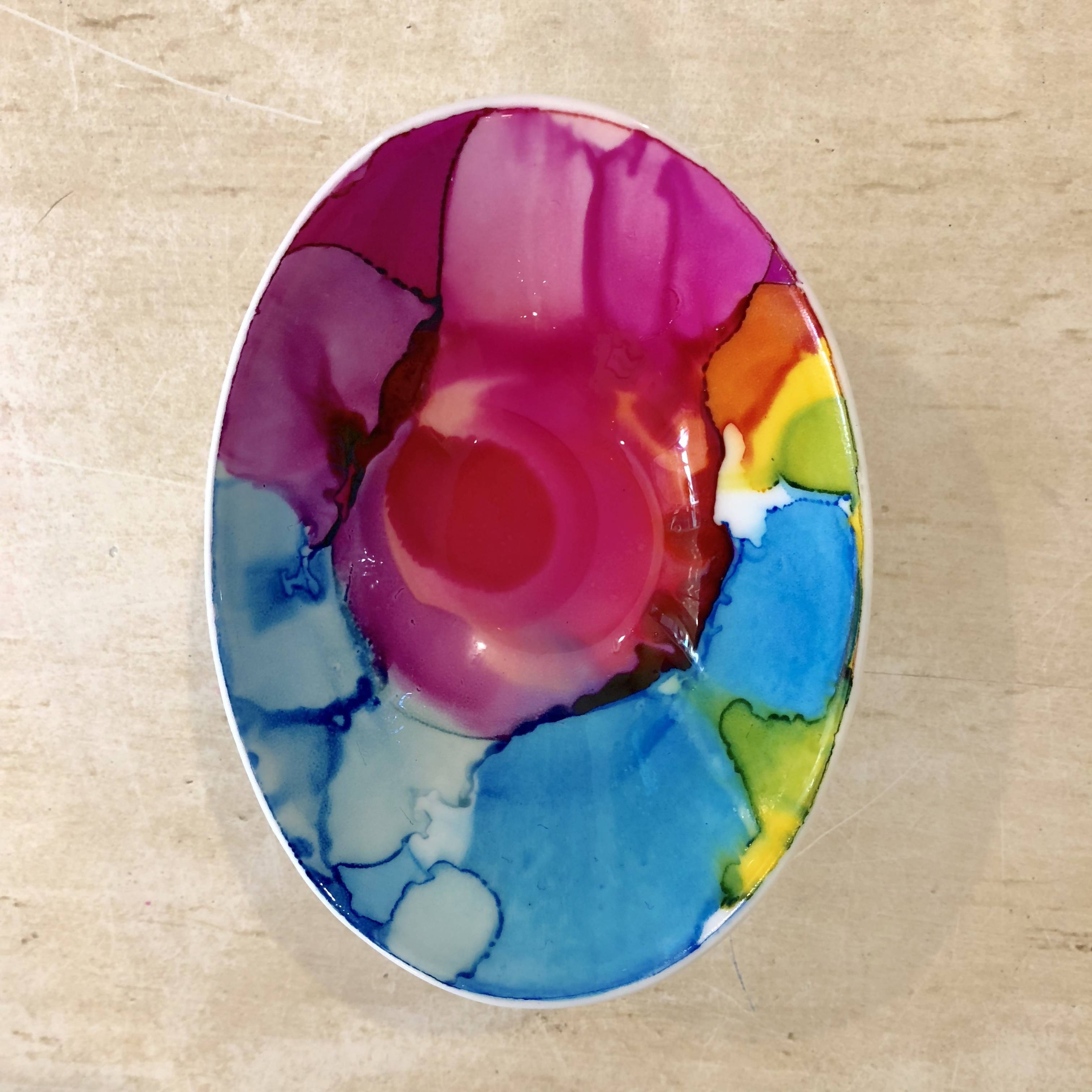 Oval jewelry dish - pink, green and blue watercolor effect