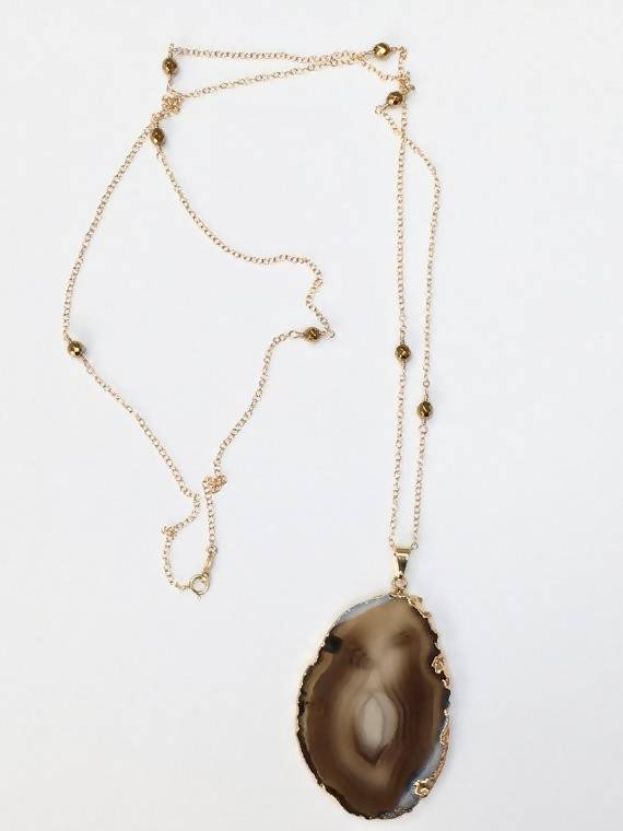 Sliced Agate Pendant Long Necklace