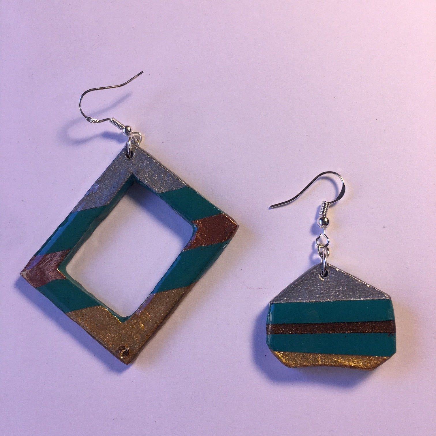 square and shape different earrings gold, silver, bronze, green