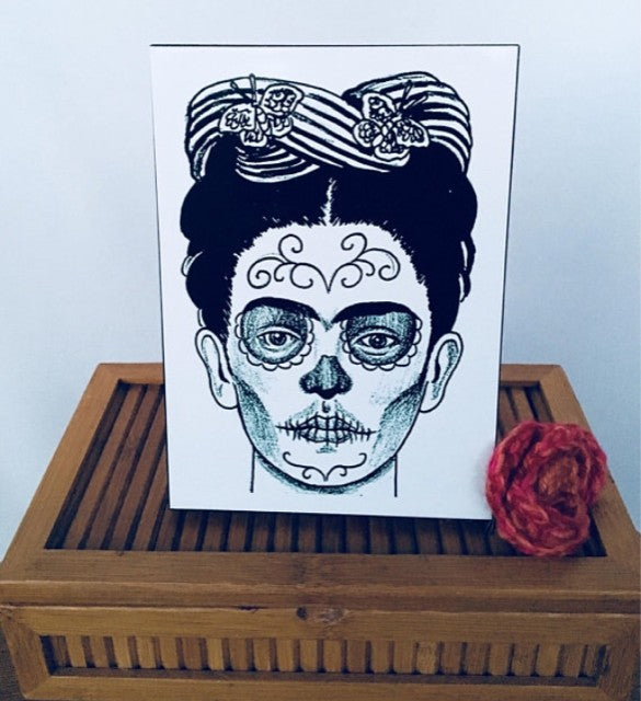 Frida Day of the Dead Wood Panel. Black Wood Panel with a Pressed Frida Photo.
