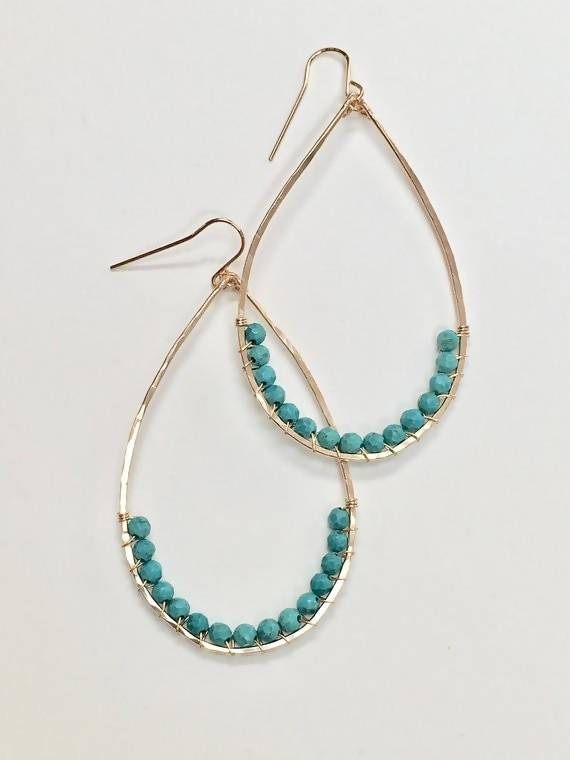 Turquoise Wrapped Teardrop Earrings - Large