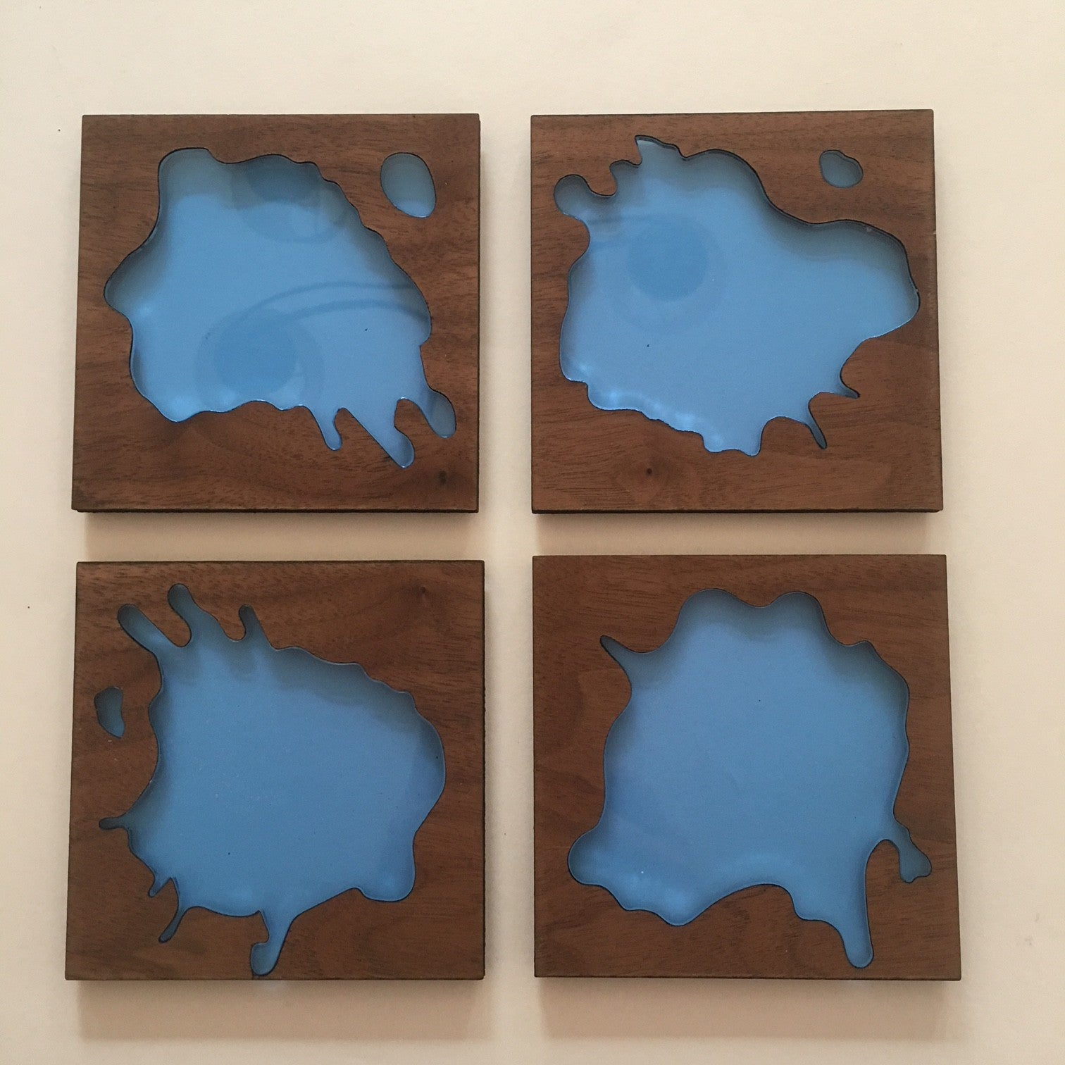 water spill  wood and acrylic coaters set of 4