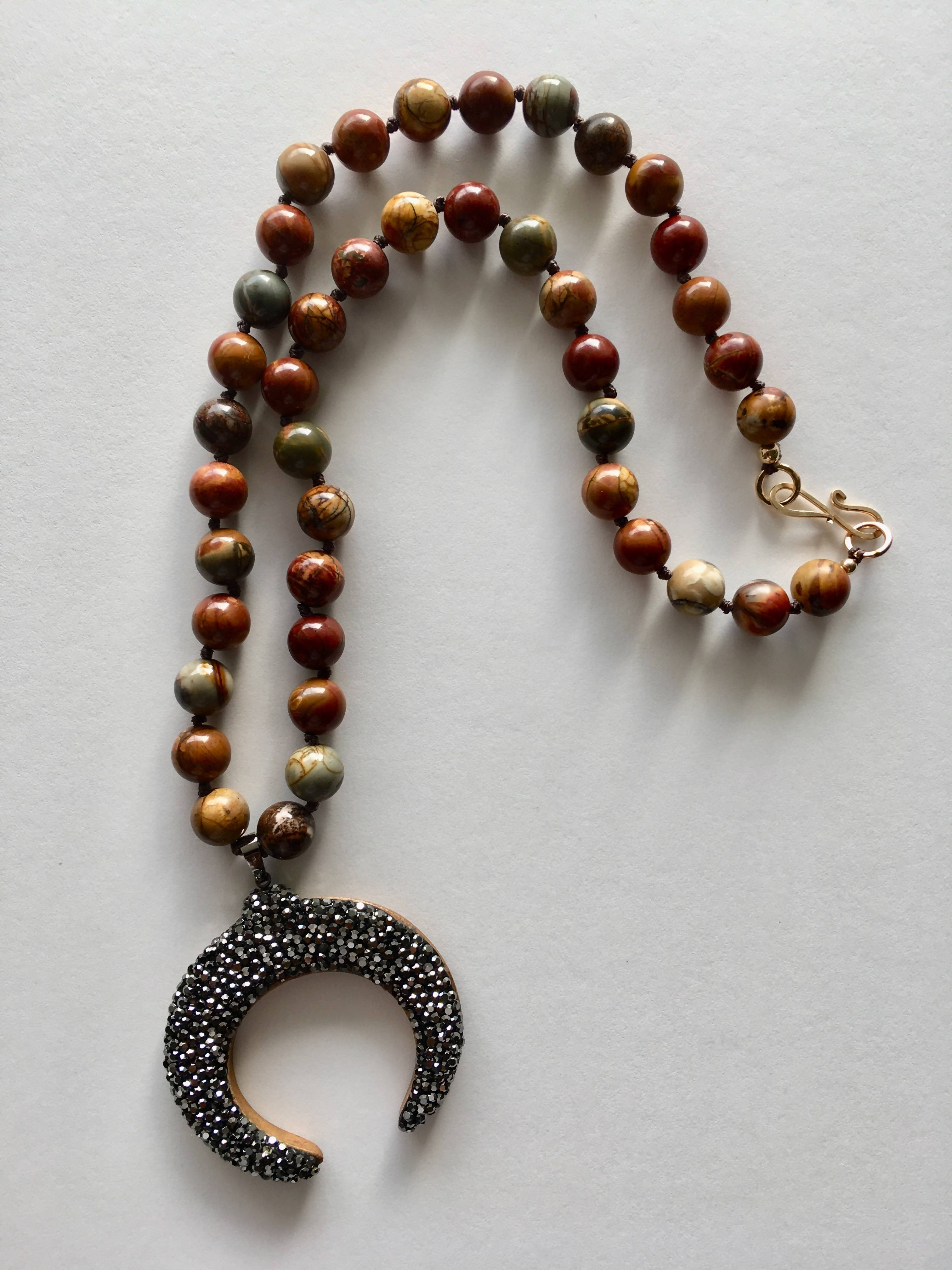 Jasper Bead Necklace with Hematite Crescent