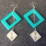 jade hollow squares with silver squares on chain