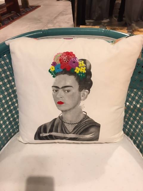 Frida Hand Painted Flowers Pillow