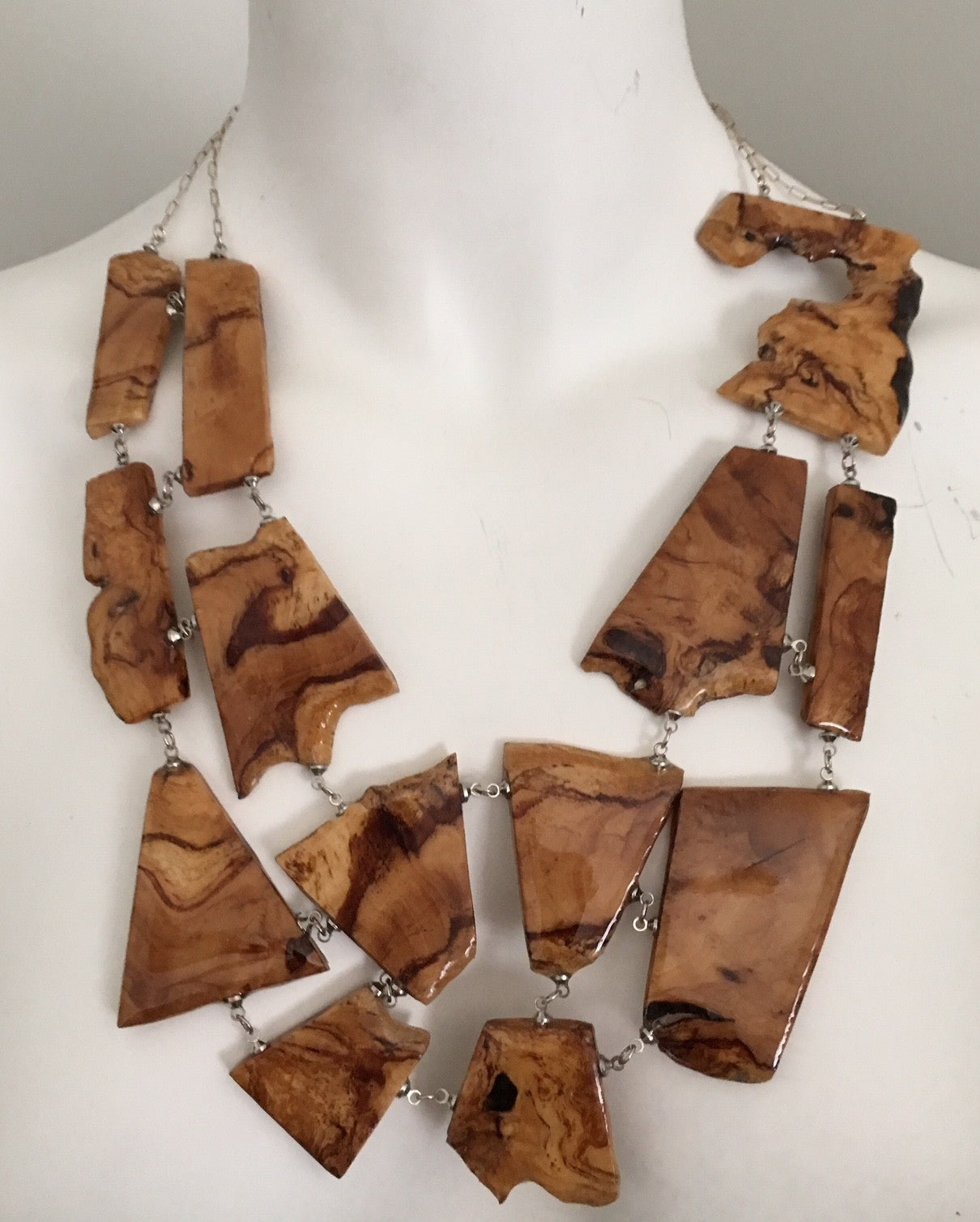 many pieces, olive wood statement necklace