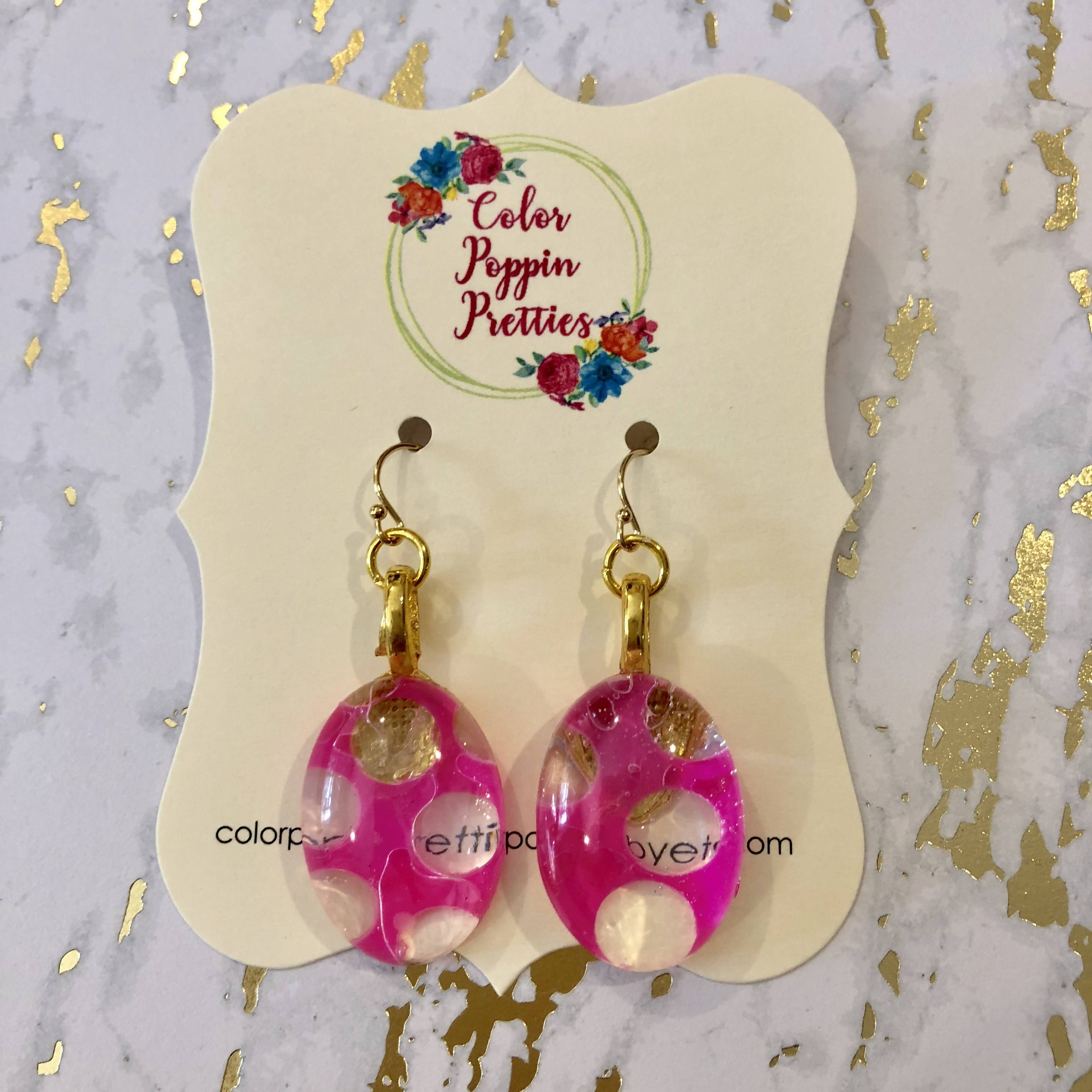 Oval earrings - resin and bright pink polka dots with 14K gold filled hooks