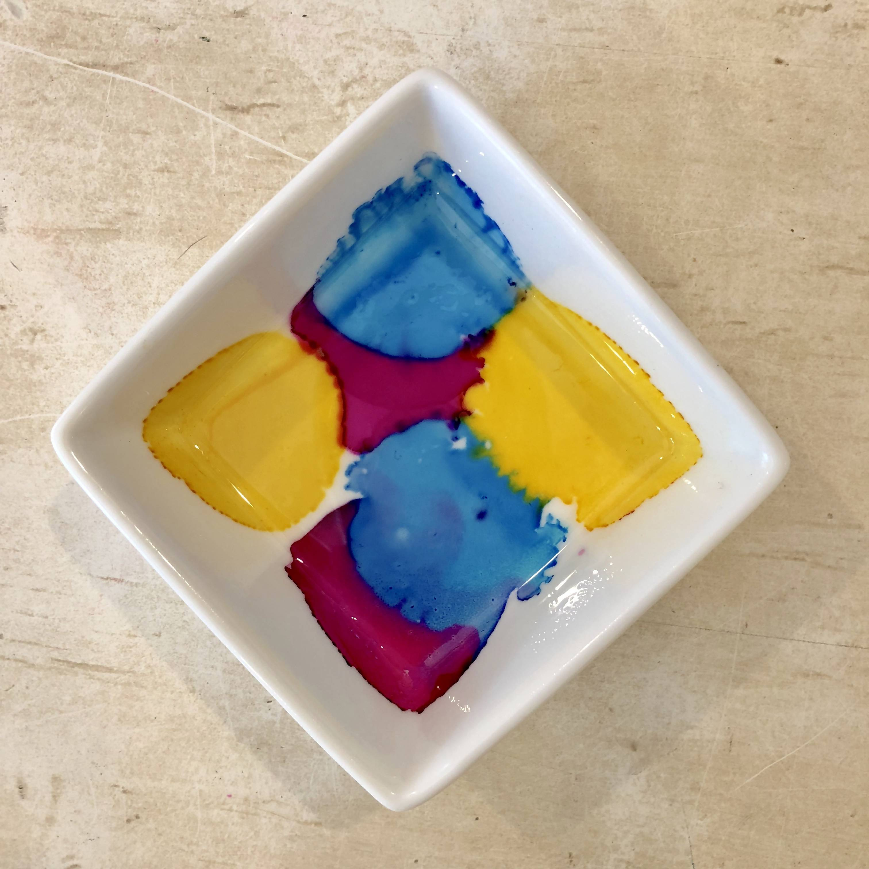 "Square 3.5"" jewelry dish - pink, yellow and blue dots"