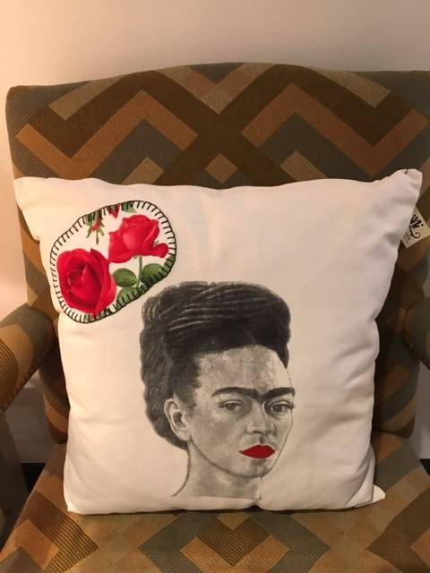 Frida And Roses Hand Stitched Pillow Case