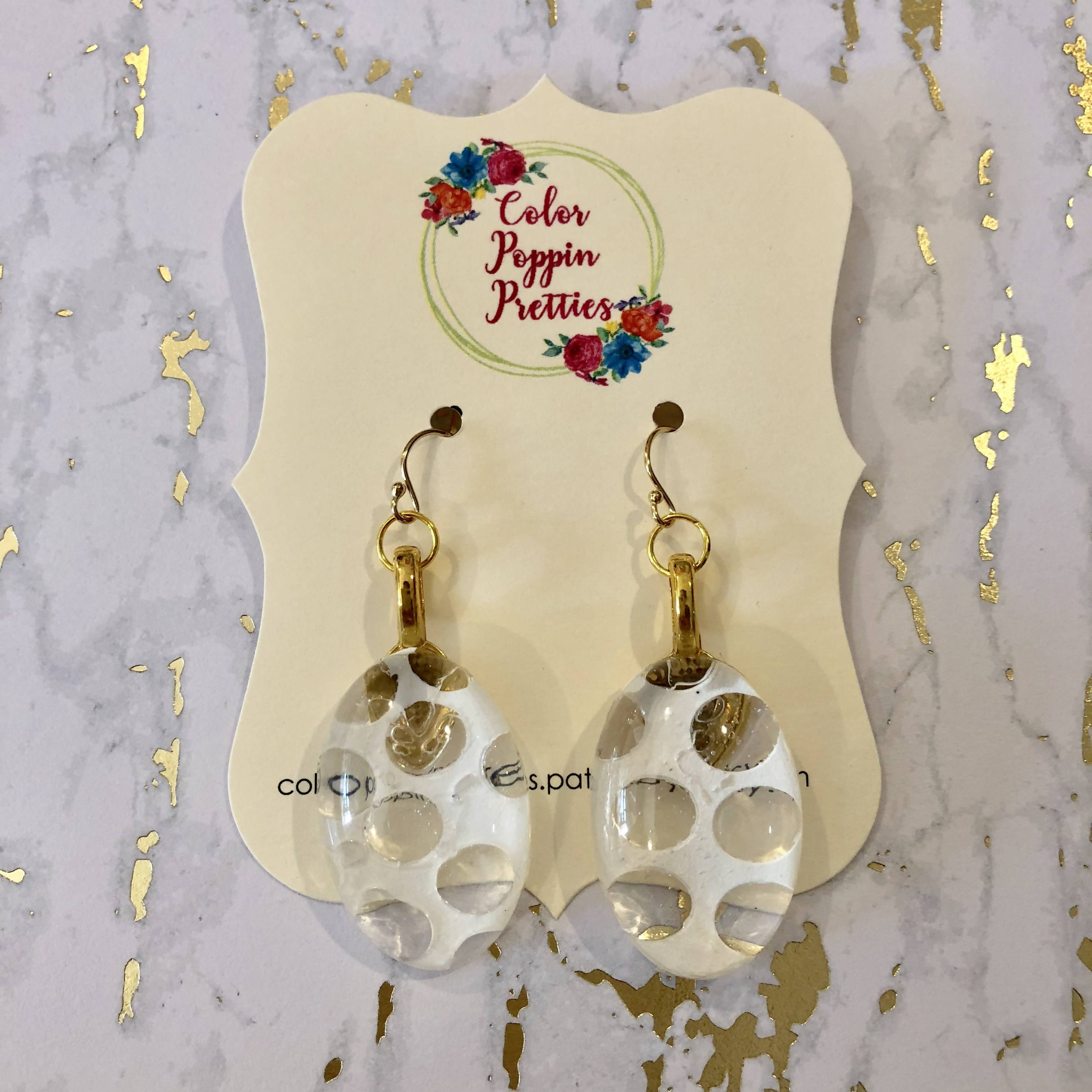 Oval earrings - resin and white polka dots with 14K gold filled hooks