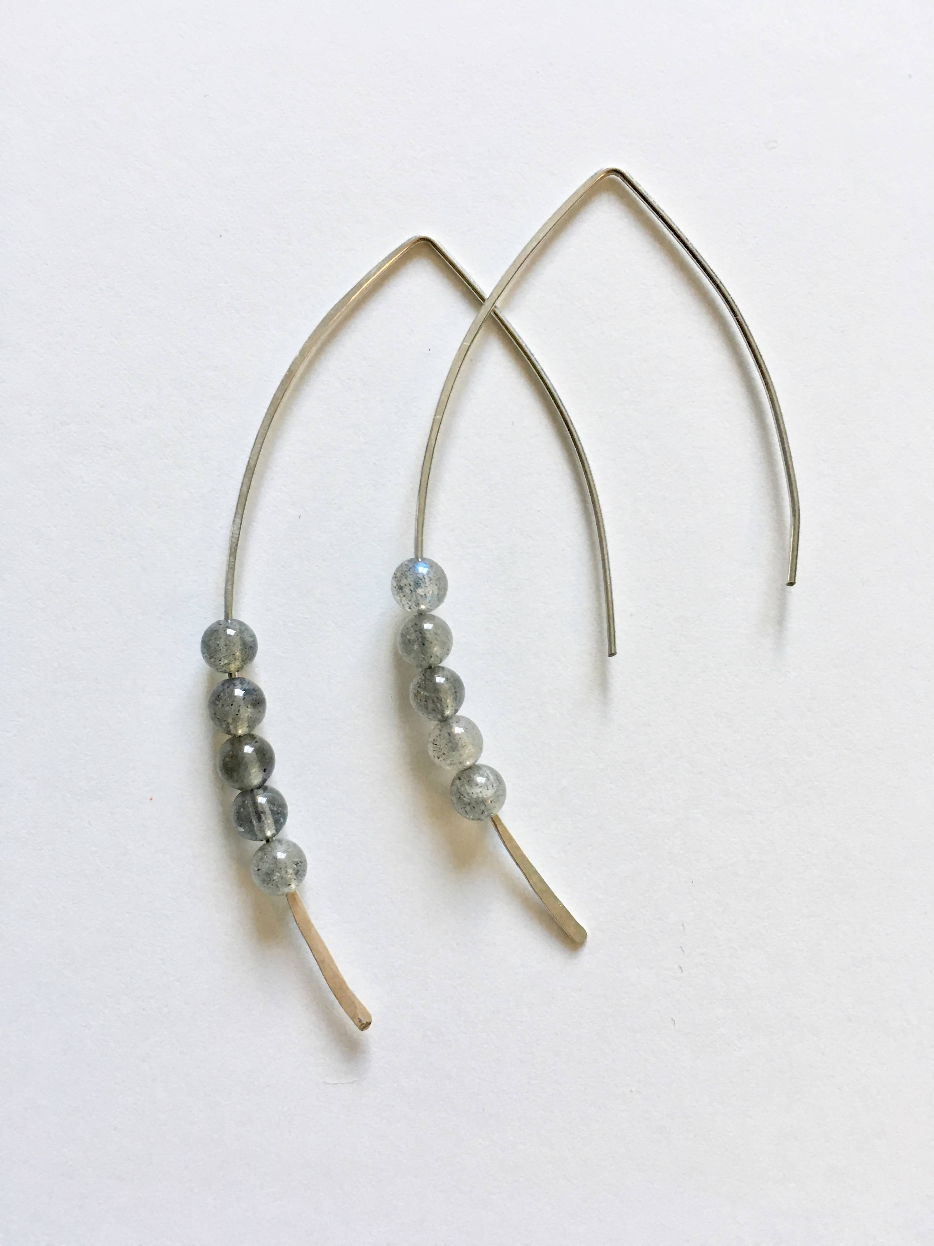 Round Labradorite Threader Earrings