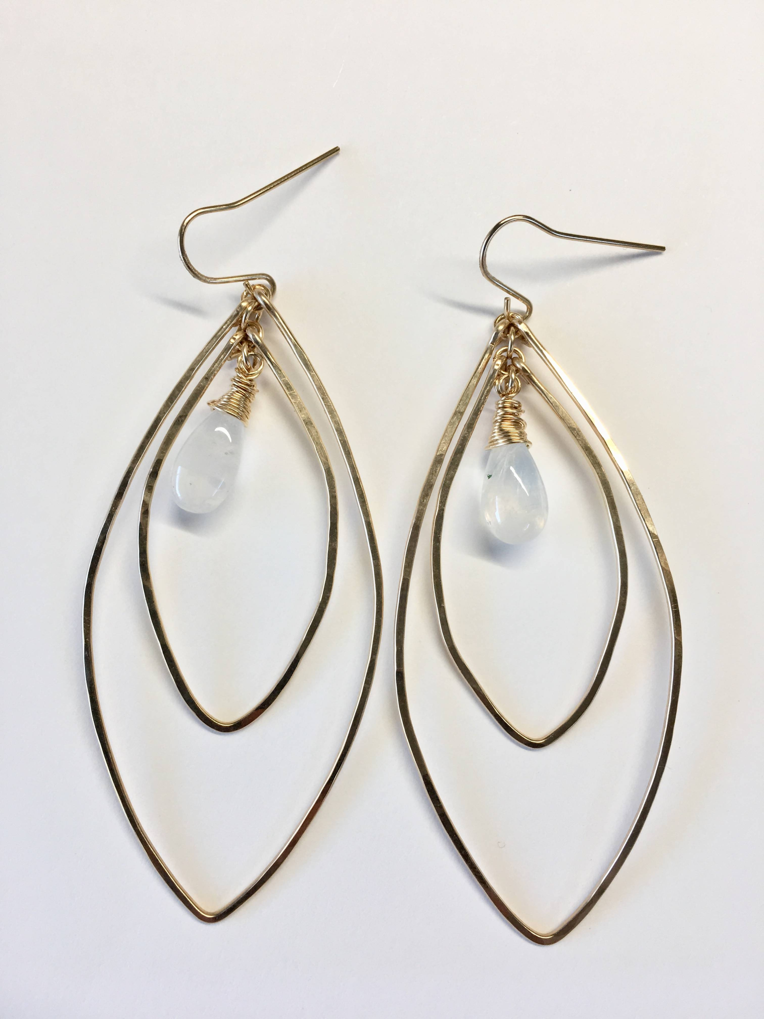 Moonstone Double Marquis Hammered Wire Earrings