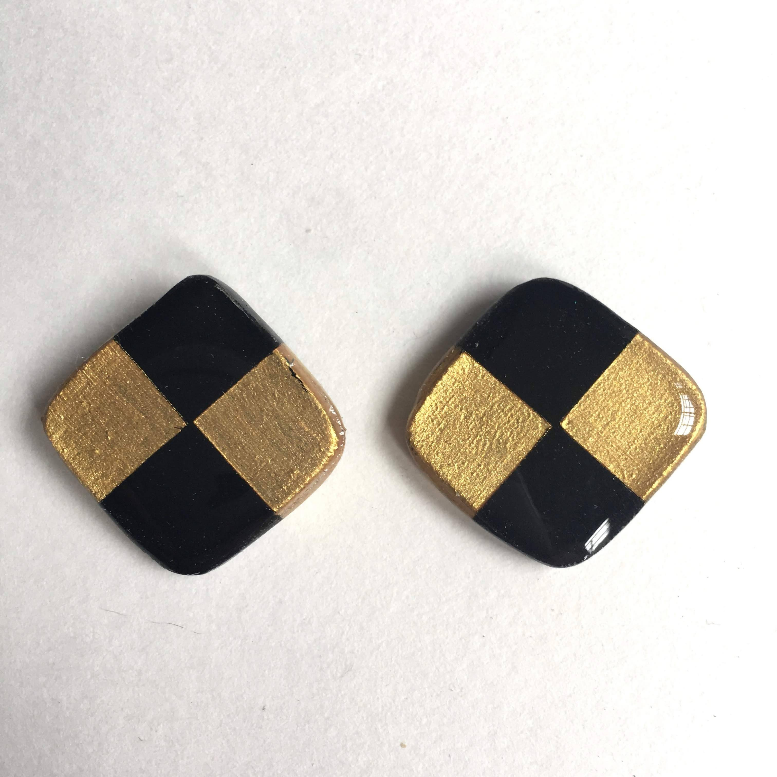 black and gold square post earrings
