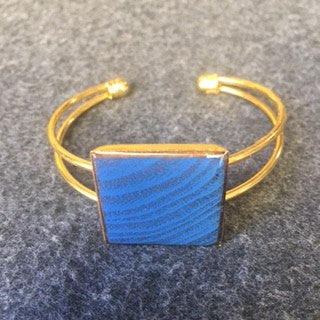 metal cuff with blue square