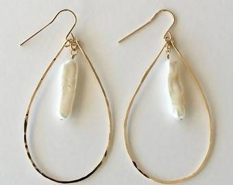 Long Biwa Freshwater Pearl and Teardrop Hoop Earrings