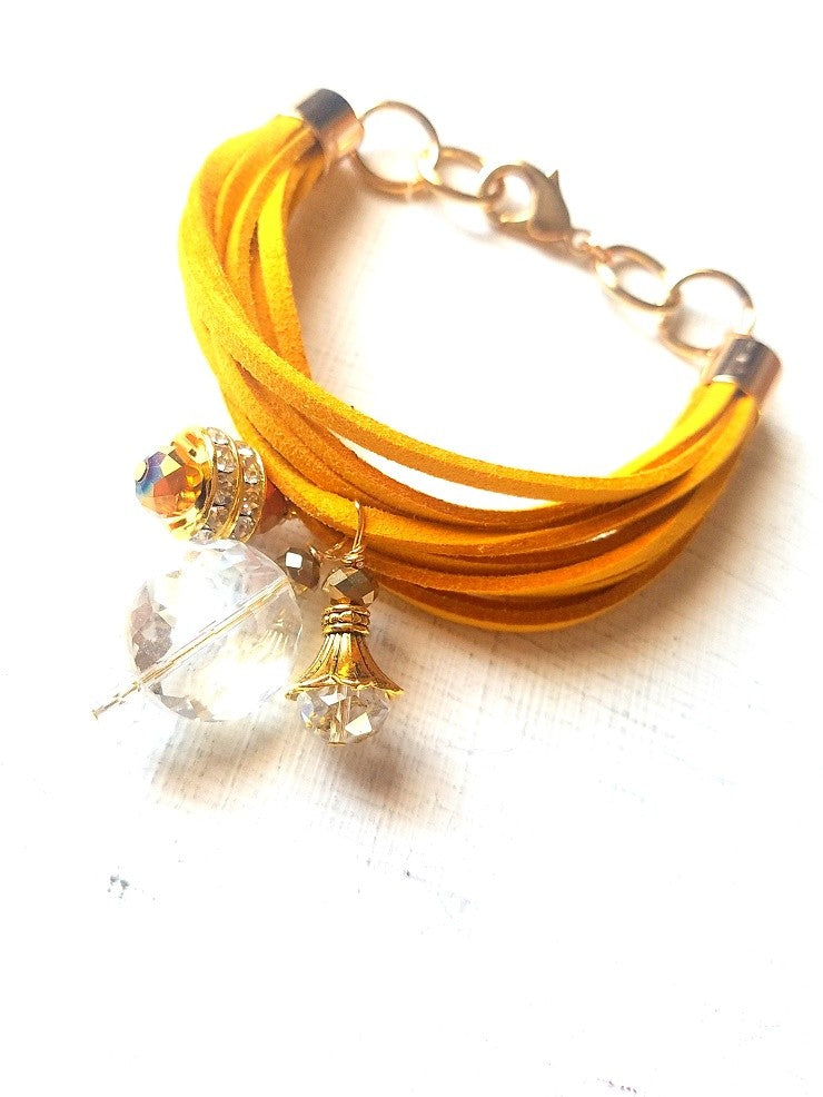 VICTORIA-Yellow Faux Suede Multi strand Bracelet-With Charms