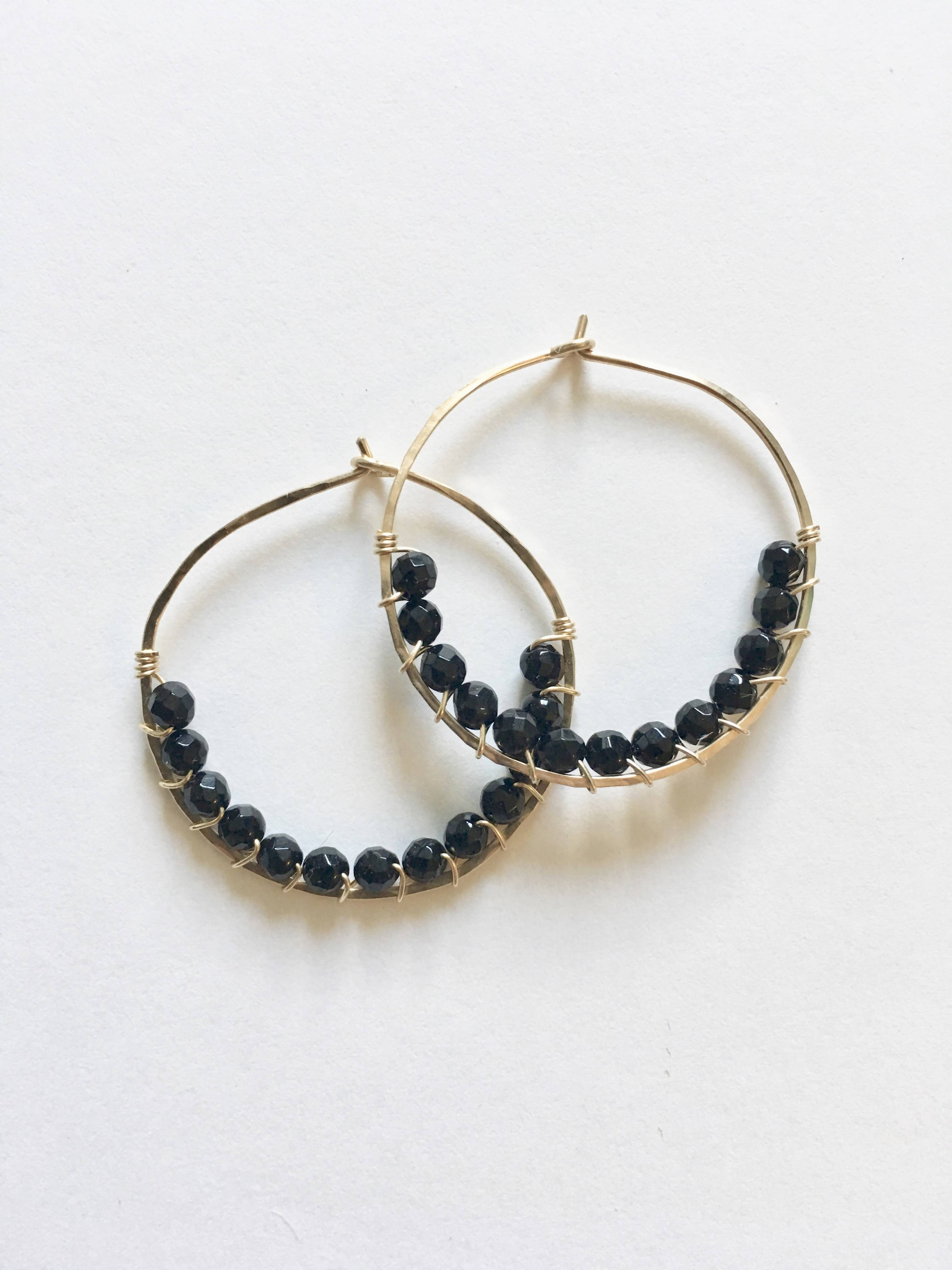 Black Onyx  Wire Wrapped Hoop Earrings - Small