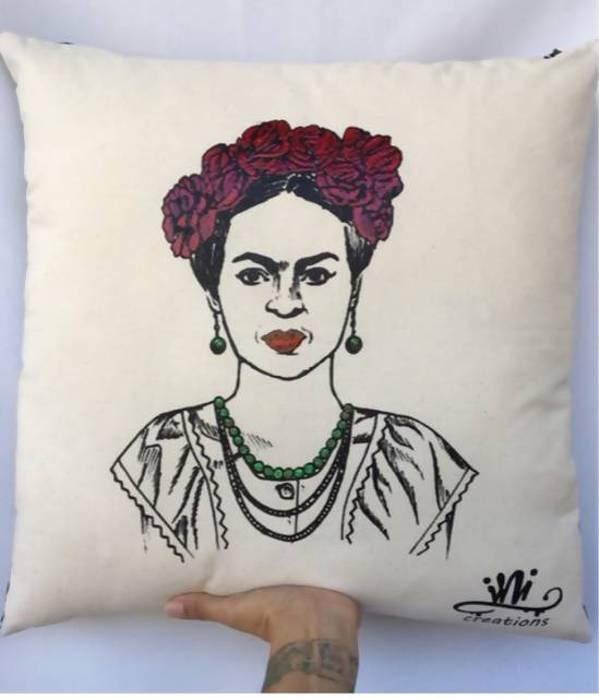 Frida Red Roses Hand Painted Pillow Case