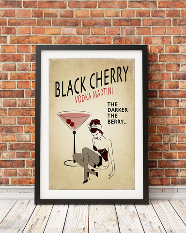 Black Cherry Original Pin-Up Girl Print Design (print and matte only) 5x7