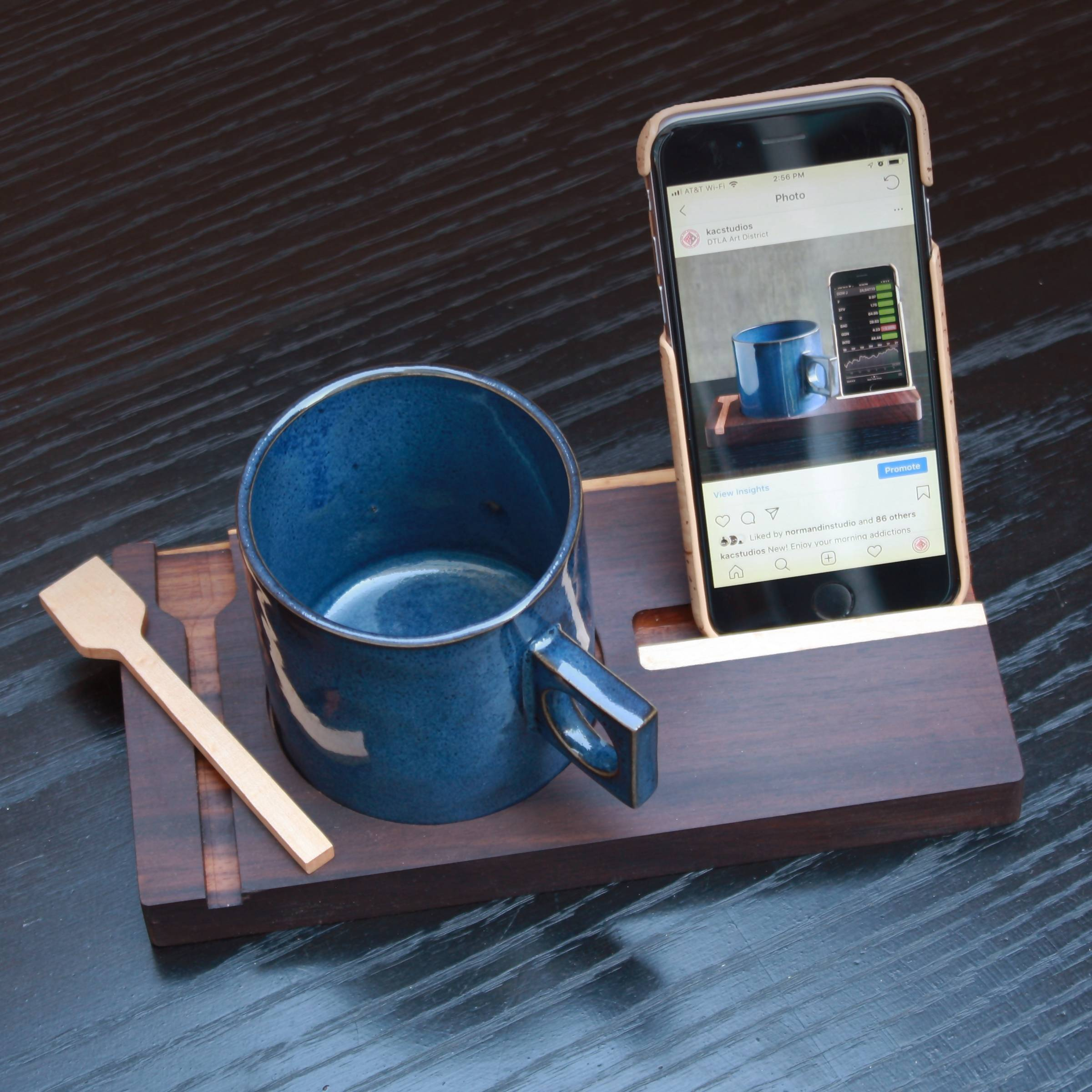 Coffee Mug and Coaster with phone cradle.