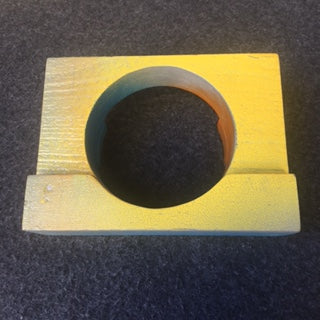 biggest wood cuff with yellow and blue modled paint