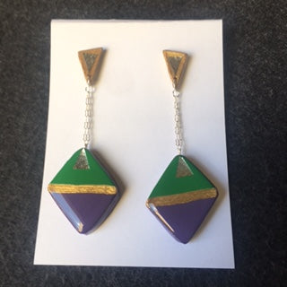 green, purple, gold, silver triangle post  with hang down