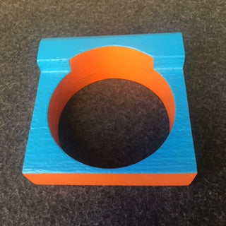sm wood cuff with blue and orange