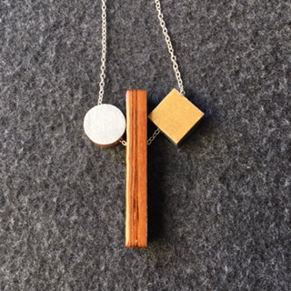wood rectangle , silver circle, gold square