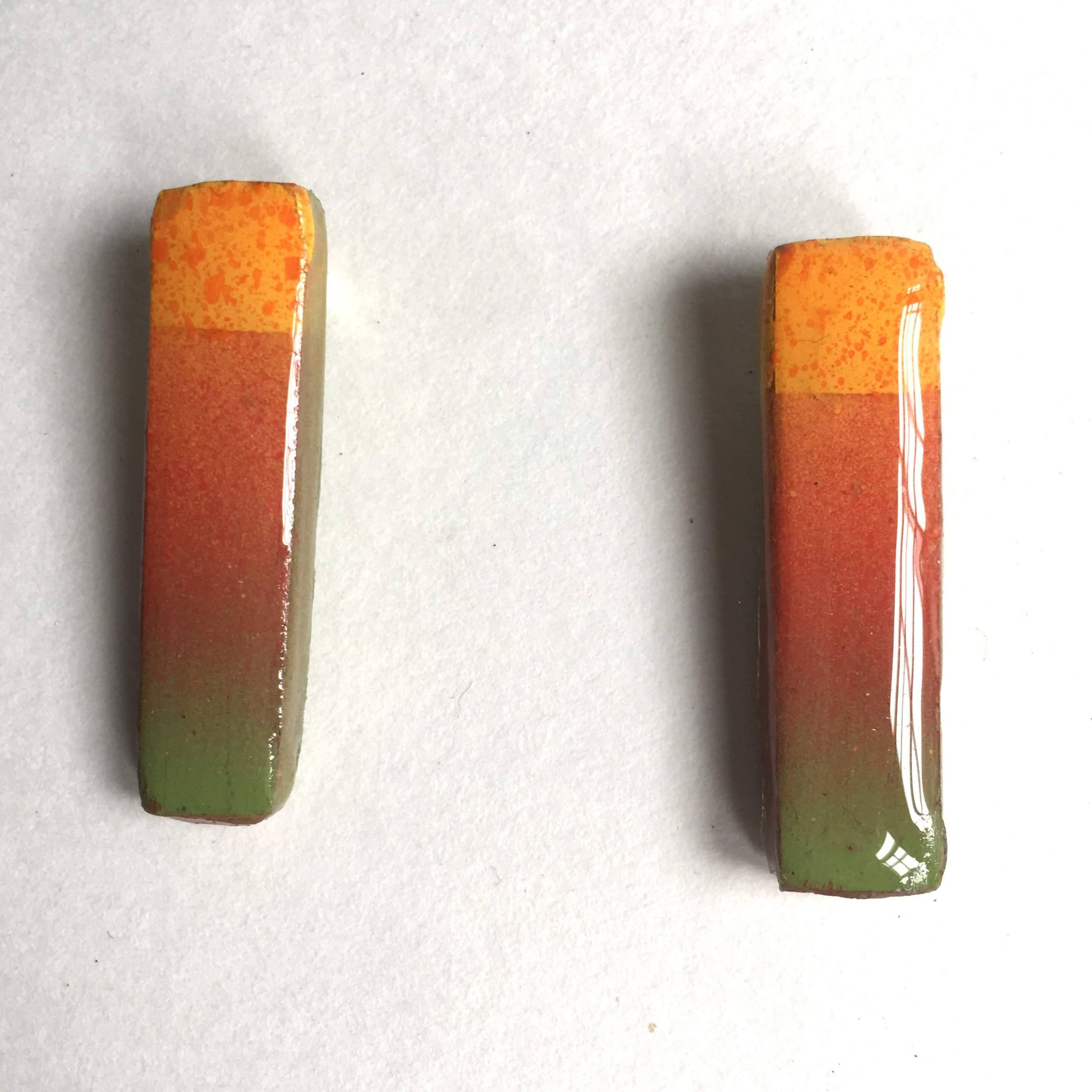 small rectangle post earrings yellow green red