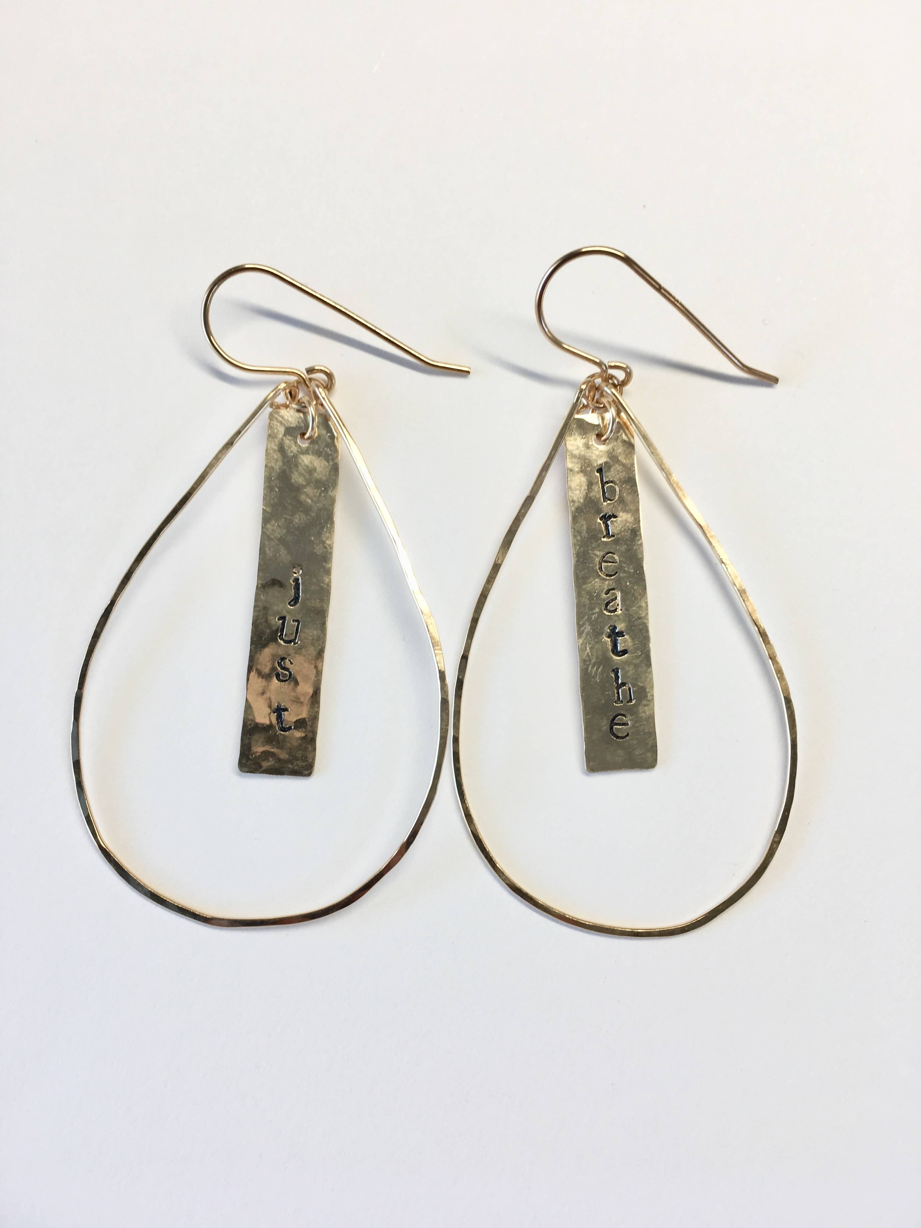 Teardrop Just Breathe Drop Earrings