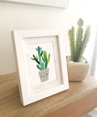 2 X 3 MINI ART PRINT FRAMED -Cool cactus