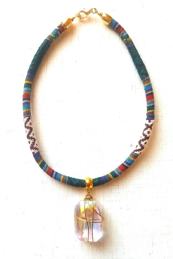 AVERY-Tribal Necklace with Gold Wire Wrapped Clear Glass Stone