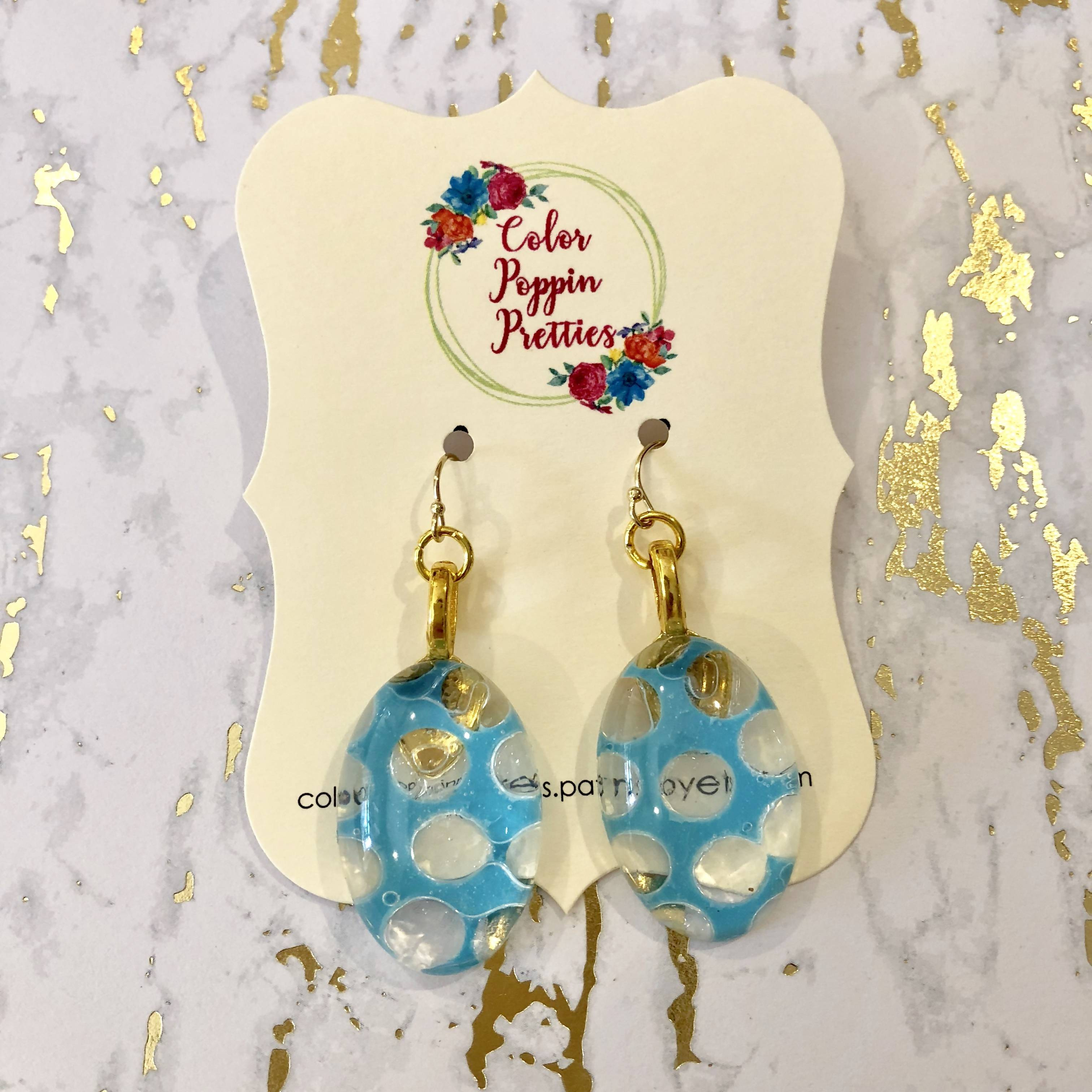 Oval earrings - resin and blue polka dots with 14K gold filled hooks