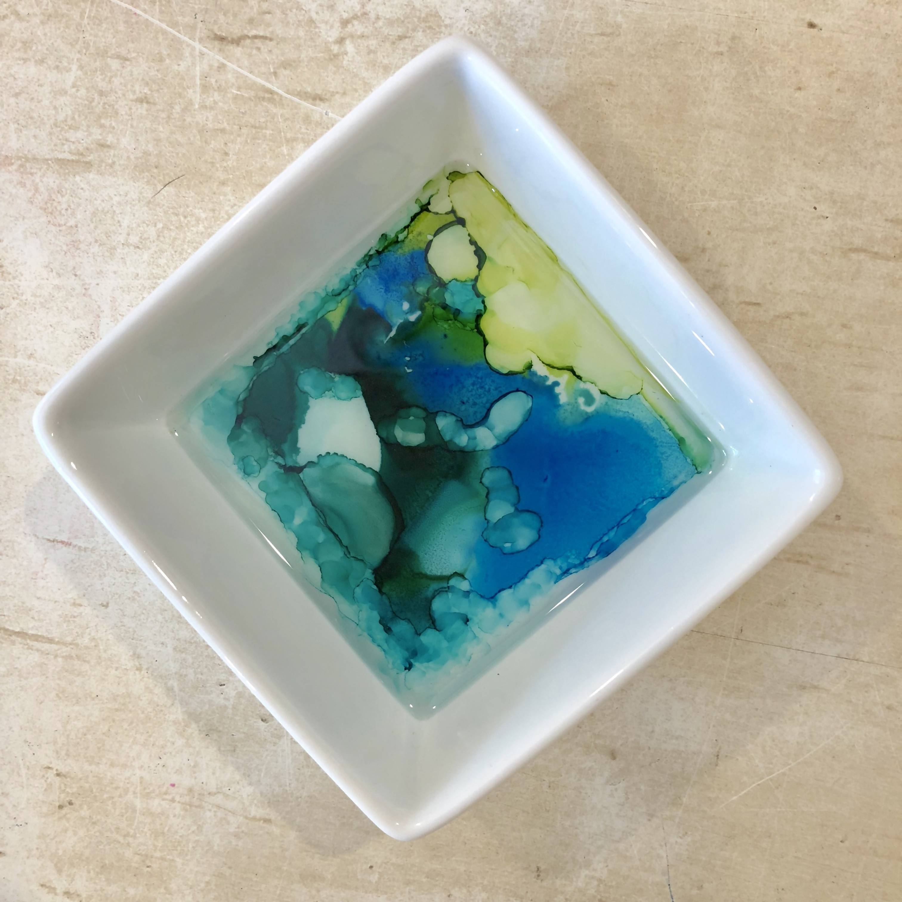 """Square 3.5"""" jewelry dish - blues and greens watercolor effect"""