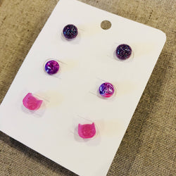 3 pairs of stud earrings - glitter balls, marble balls and pink cats
