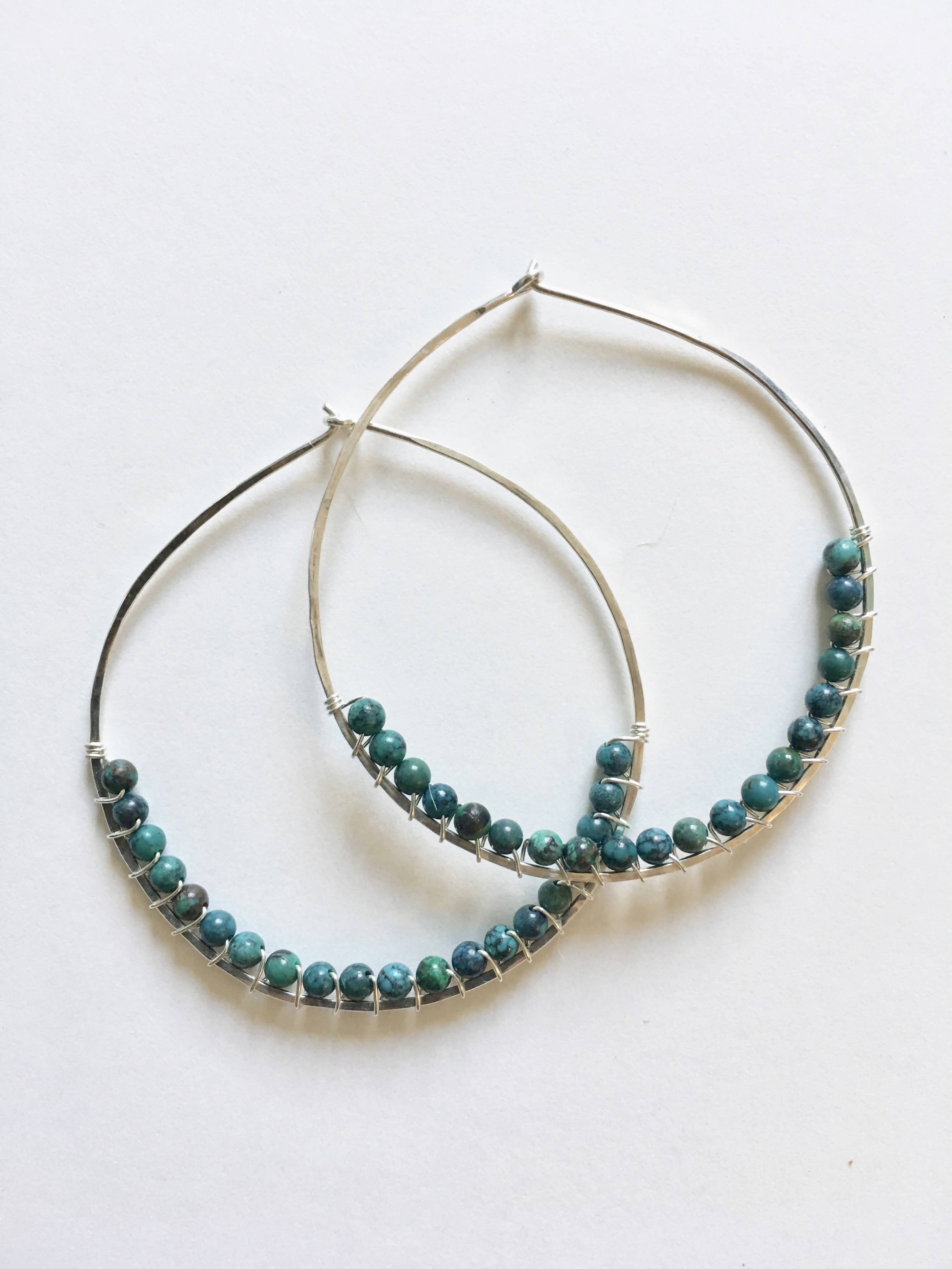 Turquoise  Wire Wrapped Hoop Earrings - Large