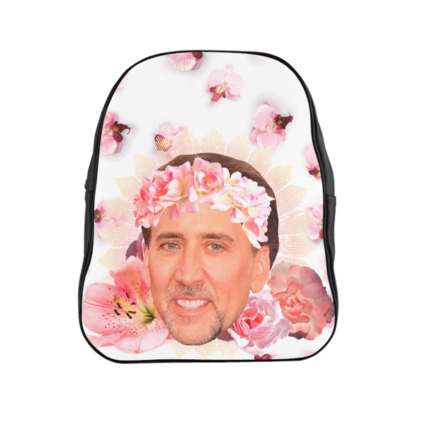 Nic Cage Face Flowers backpack - funny meme accessory bag
