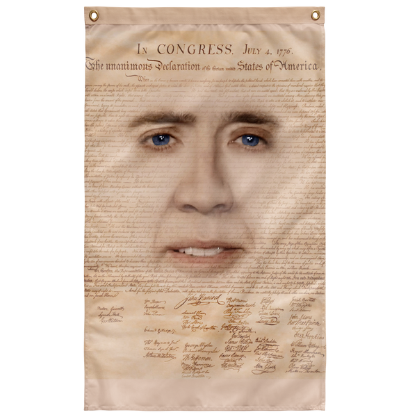 Nicolas Cage with Declaration of Independence Wall Flag - Meme Cuisine - Meme Flags